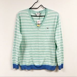 Vineyard Vines Striped V Neck Sweater Blue